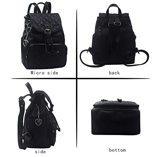Alice Fashion Women Suture Rhombic Backpack Waterproof Anti-theft Lightweight PU Leather Shoulder Diagonal Bag Travel Ladies Purse(black)