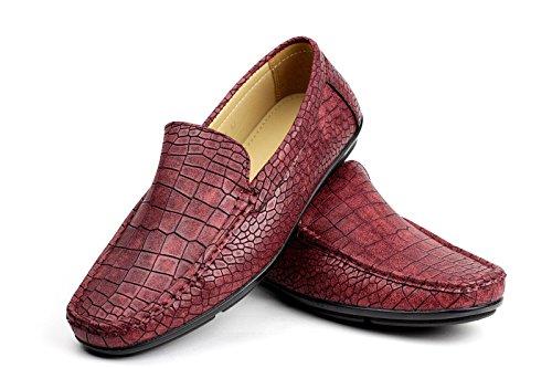 ALBERTINI Hombre Sin Cierres Cocodrilo Estampado Mocasines Zapatos de Conducción Casual Elegante Estilo Mocasín UKSize Burdeos