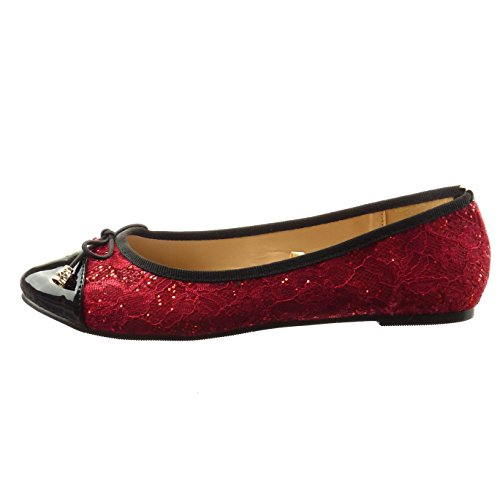 Sopily - Zapatillas de Moda Bailarinas Tobillo mujer patentes Talón Tacón ancho 0.5 CM - Rojo