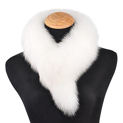 Ferand Ladies Elegant Real Fox Fur Collar Scarf Wrap for Women, White
