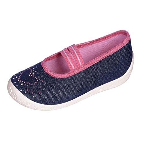 Kinderhausschuhe Kinder Hausschuhe für Mädchen Ballerinas mit Gummiband Jeans S4 Gr. 25