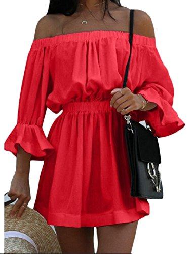 Manicotto Abbigliamento Metà Del Vita Casual Donne La Rosso Jaycargogo Sexy In Off Delle Elastico Pianura Spalla w1Rpq1YxB