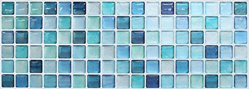 Tile Backsplash Bathroom (BEAUSTILE Decorative Tile Stickers Peel Stick Backsplash Fire Retardant Tile Sheet (2pcs) (N.Blue) (2, 5.28