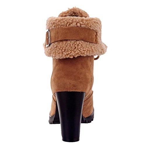AIYOUMEI Damen Blockabsatz Winterstiefel Lace Up Stiefeletten mit Schnürung und Plateau Braun