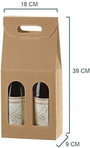 Caja de cartón con asa para 2 botellas de 750 ml (vino, cerveza, aceite), color marrón: Amazon.es: Hogar