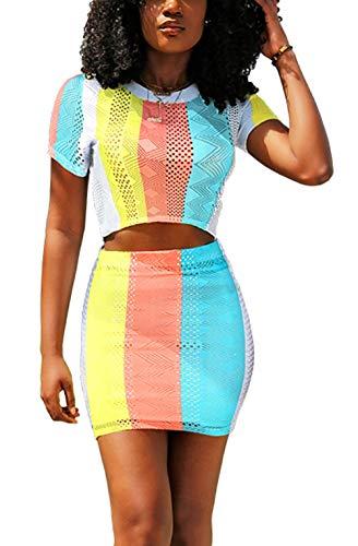Womens Short Sleeve Crop Top Mini Skirt Set Block Color 2 Piece Dress Outfits ()