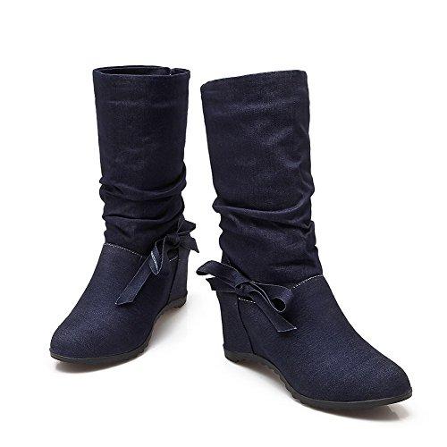 AllhqFashion Mujeres Caña Media Sin cordones Cuña Puntera Redonda Botas con Pajarita Azuloscuro