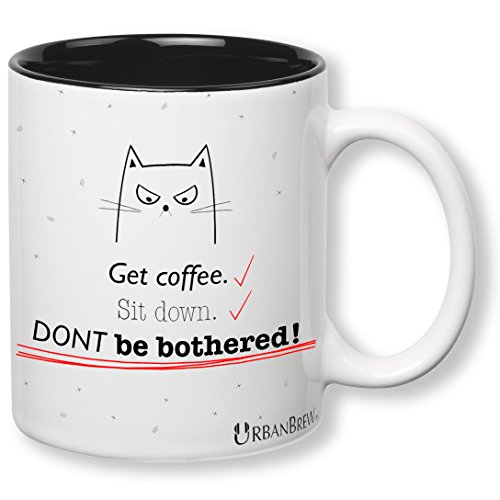 Cats Sad In Costumes (Urbe The Mad Cat Mug - Get coffee. Sit down. DONT be bothered! (Perfect Christmas Gift For Family, Friends, Cat Lovers) FREE GIFT WRAP - UrbanBrew)