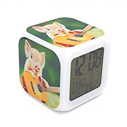 Boyan New Pig Pet Animal Led Alarm Clock Desk Clock Calendar Snooze Glowing Led Digital Alarm Clock for Unisex Adults Kids Toy Gift