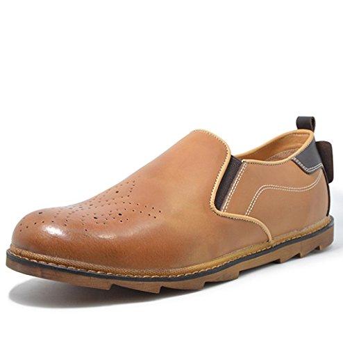 Heart&M casual retro ovalada de los hombres poner un pie mocasín de cuero zapatos Brown