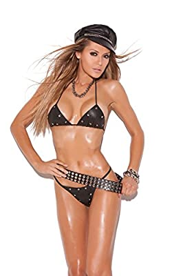 Women's Studded Leather Bra And G-string Set