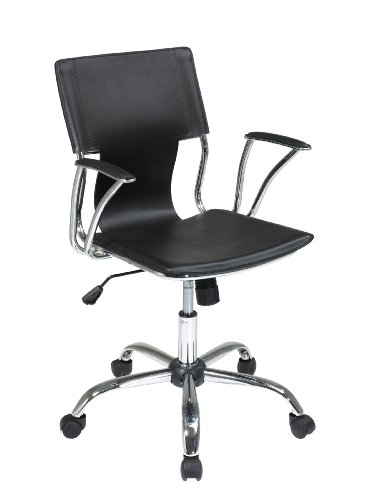 AVE SIX Dorado Contour Seat and Back with Built-in Lumbar Support Adjustable Office Chair, Black