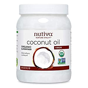 Gut Health Shop 41k3yi-eGmL._SS300_ Nutiva Organic, Unrefined, Virgin Coconut Oil, 54 Fl Oz (Pack of 1)