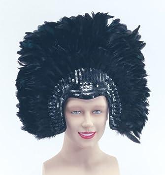 Black Deluxe Feather Headdress Dancer Drag Queen Fancy Dress ...