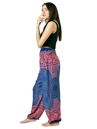 Junior Elephant - Orient Trail Hippie Mandala Design Palazzo Harem Pants Scrunched Bottom Large Mandala Blue