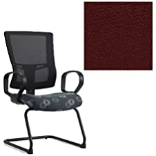 Office Master Affirm Collection AF511S Ergonomic Mid-Back Guest Chair - ETR1 Armrests - Black Mesh Back - Grade 1 Fabric - Spice Paprika Red 1167 PLUS Free Ergonomics eBook