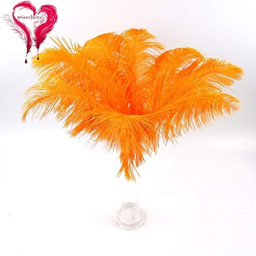 Maslin 9 Colors 20 PCS/Lot Fancy 35-40 cm Dyed Multicolored Real Natural Curly Ostrich Feather Plume Hotel Dining Room Home Decoration - (Color: Orange, Size: 35-40 cm)