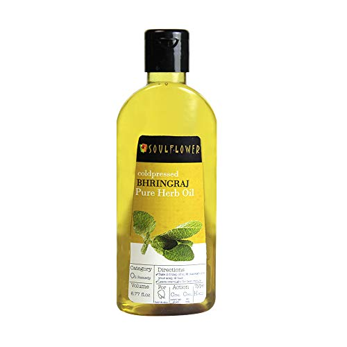 Soulflower Coldpressed Bhringraj Pure Herb Oil, 100% Pure and Natural Hairfall Control Oil, Adds Shine and Volume to hair, controls Premature Graying, 6.77 fl.oz with Free Mini Travel Spray (Bulk Natural Oils)