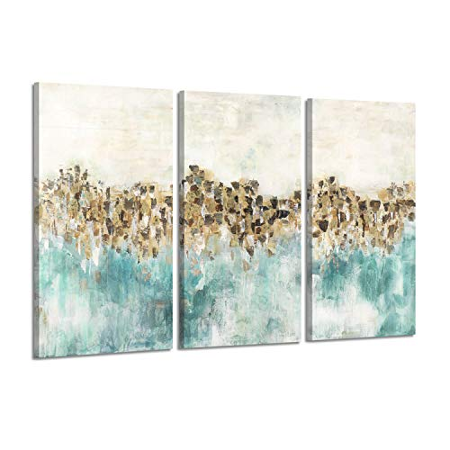 Hardy Gallery Abstract Artwork Rustic Art Picture- Farm Field Painting Print on Canvas for Wall Decor (Accent Pieces Teal)