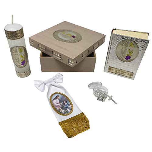 Premium Catholic First Communion Kit in a Wooden Box with Candle, Rosary, Bible (Spanish) and Arm Bow Bracelet for Boys. Handmade in Mexico Gift for Godparents. Kit de Primera Comunión.