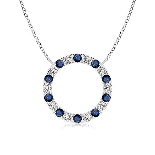Sapphire and Diamond Open Circle Eternity Pendant in 14K White Gold (1.5mm Blue Sapphire)