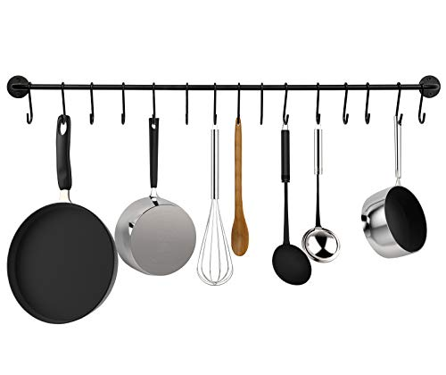 - Greenco GRC30756 Pot And Pan Wall Mounted Rail With With 15 Hooks, Black