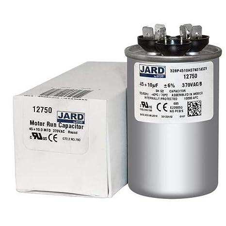 45 10 uf MFD 370 VAC Round Dual Capacitor 12750 Replaces C34510R 97F9832