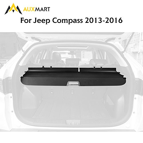 AUXMART Jeep Cargo Cover Retractable Security Shade Fit for Jeep Compass 2013 - 2015 (Compass Cover Fits)