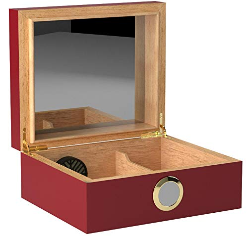 Quality Importers Desktop Humidor, Capri, with Tempered Glasstop, Cedar Divider, and Brass Ring Glass Hygrometer, Holds 25 to 50 Cigars, Red