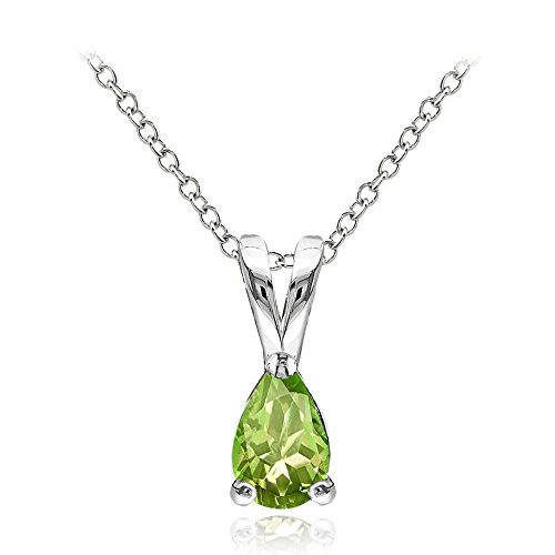 Sterling Silver Peridot 6x4mm Teardrop Solitaire Necklace With 18 Inch Chain