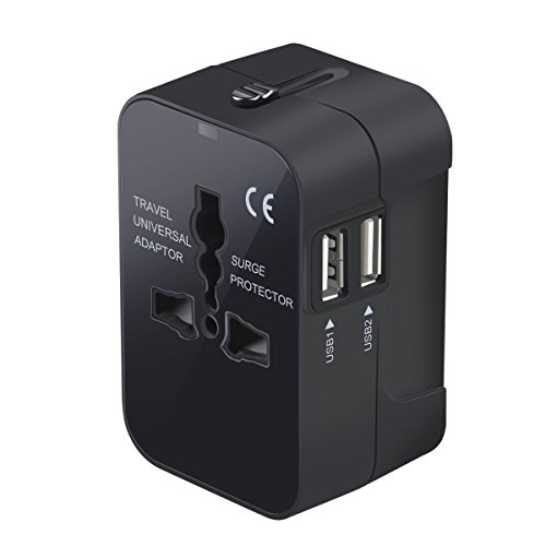 Travel Adapter, Worldwide All in One Universal Travel Adaptor Wall AC Power Plug Adapter Wall Charger with Dual USB Charging Ports for USA EU UK AUS Cell Phone Laptop (Plug Power Travel Ac)