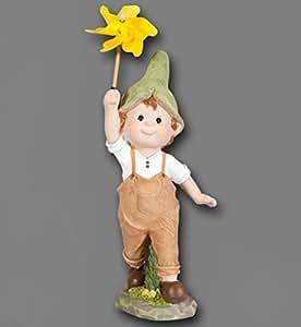 Figura de niño con molino de viento Jardín infantil gnomo niña Escultura Enano gnomo
