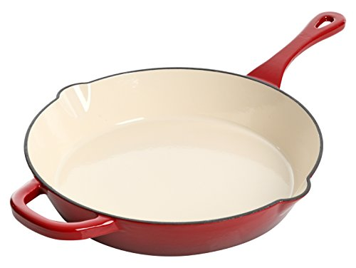 Crock Pot Artisan Enameled Cast Iron 12-Inch Round Skillet, Scarlet Red