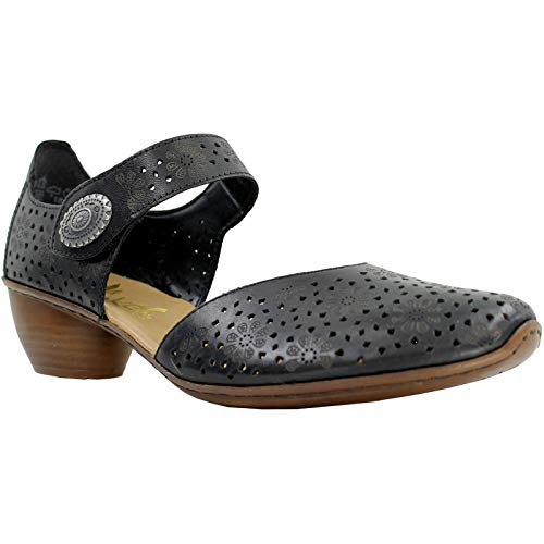 (Rieker Women's Pip Open Court Shoes 37 M EU/6-6.5 B(M) US Black )