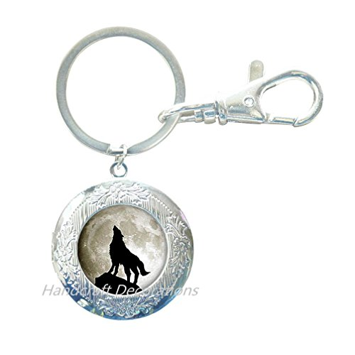 Howling Wolf Locket Keychain Wolf Locket Key Ring Wolf Jewelry Gift for Women Gift for her Gift for Man Handmade Locket Keychain Gift idea Halloween Gift.F104 (E1)