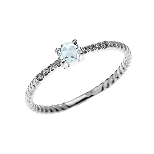 14k White Gold Dainty Diamond and Solitaire Aquamarine Rope Design Stackable/Proposal Ring(Size 4)