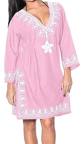 La Leela Rayon Embroidered Sheer bathingsuit kaftan caftan bohemian tunic