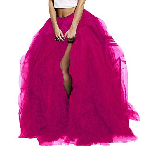 WDPL Women's Long Tutu Floor Length Skirt Maxi Special Occasion Night Out Ruffles Tulle Skirt (X-Small, Fushia) (Tulle Bottom)