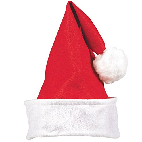[Fun-Filled Christmas and Holiday Party Santa Hat - Child , Red/White, Felt , 13