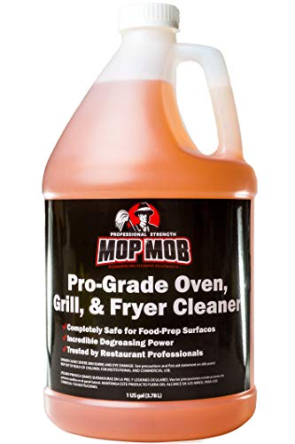 - Mop Mob Pro-Grade Grill Cleaner Liquid 1 Gallon. Food-Safe Ultra-Strong Eliminates Baked-On Grease & Carbon. Use Concentrate on Ovens, Cast Iron Cooktops, Stainless Steel Flat Tops & Deep Fryers