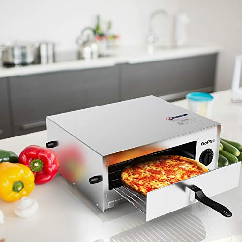 Goplus Stainless Steel Pizza Oven Electric Pizza Maker Pizza Baker with Snack Pan, Snack Maker, Counter Top, Commercial & Kitchen Use (Silver) by Goplus (Image #2)
