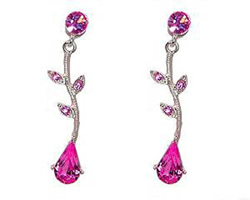 (Fuschia Pink Crystal Pear and Leaf Earrings - Bright Pink Bridesmaid Prom Jewelry)