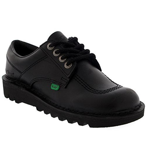 Unisex Kids Junior Kickers Kick Lo Leather Back To School Boot Shoes - Black - 2 - Kickers Childrens Shoes