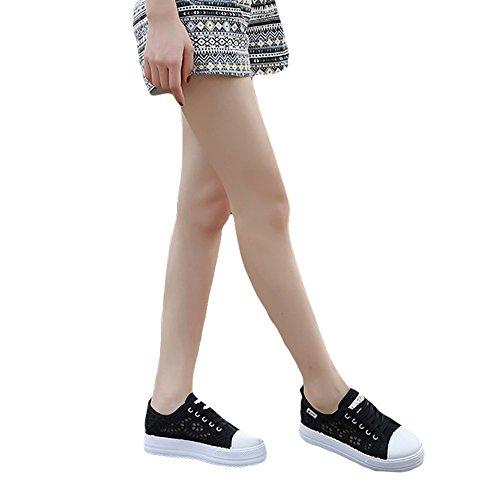 Al Planos Libre Zapatos de Minetom Zapatos Respirables Zapatos Deportivos Negro de Mujer Casuales Aire Lona Primavera wPz7wCqB