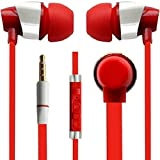 3.5Mm Jack In-Ear Earplug Earphones Headphones Headset With Mic Compatible for All Phone Models - Red By Rich Walker