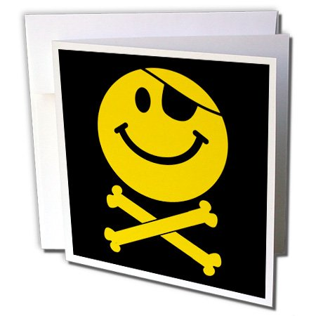 Face - Yellow Jolly Roger flag skull and crossbones smilie with eye patch - Greeting Cards, 6 x 6 inches, set of 6 (gc_76648_1) (Smiley Pirate)