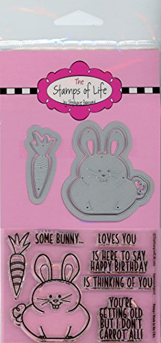 Animal Bunny Stamp and Die Combo Pack for Card-Making and Scrapbooking Supplies by The Stamps of Life - Easter Bunny Pudgie