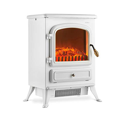 VonHaus Electric Fireplace Stove Heater with Flame Effect White, 1850W –...