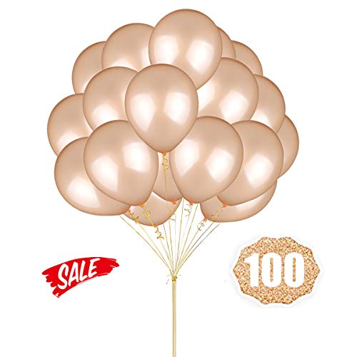 Rose Gold Champagne Balloons Hovebeaty 12 Inches thicken Latex Metallic Red Champagne Balloons 100 Pack for Wedding Party Baby Shower Christmas Birthday Carnival Party Decoration Supplies