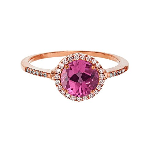 Sterling Silver Rose 7mm Round Pure Pink Topaz & Created White Sapphire Halo Ring